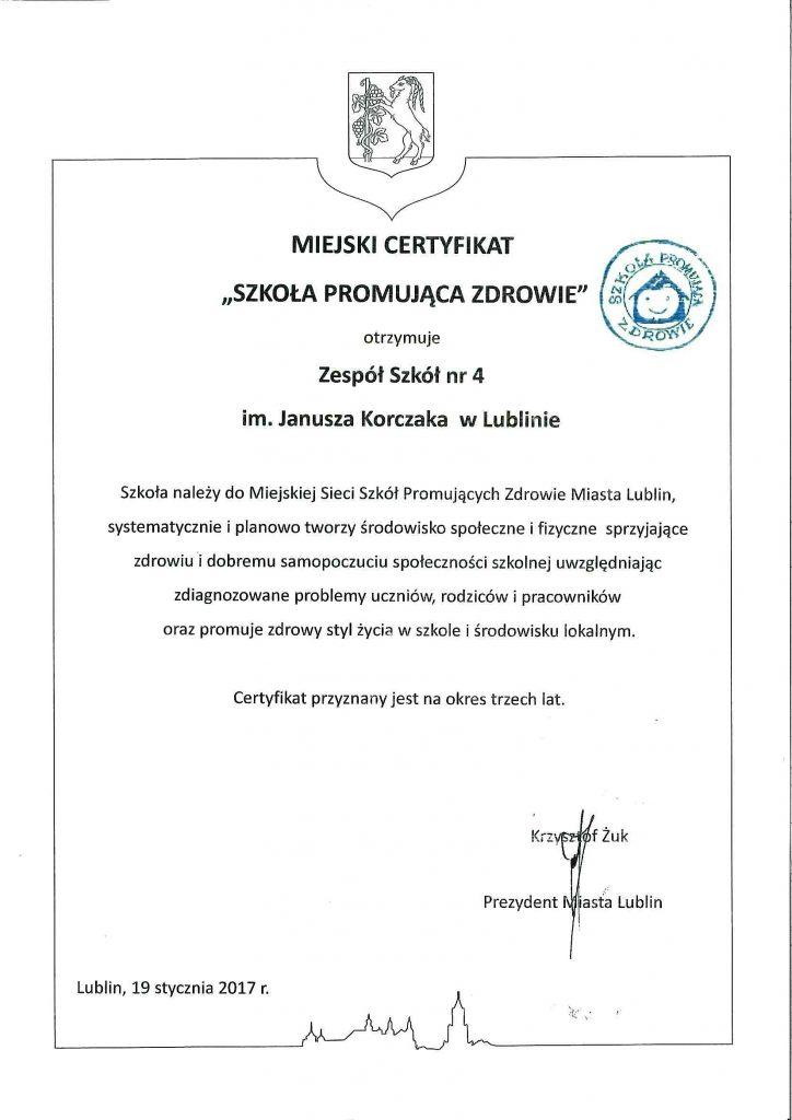 Certyfikat Szkoła Promująca Zdrowie-1